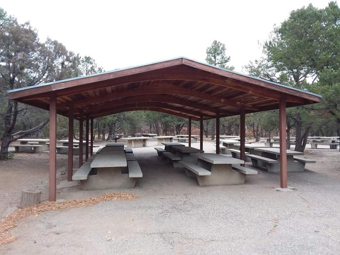 Shaded picnic area.