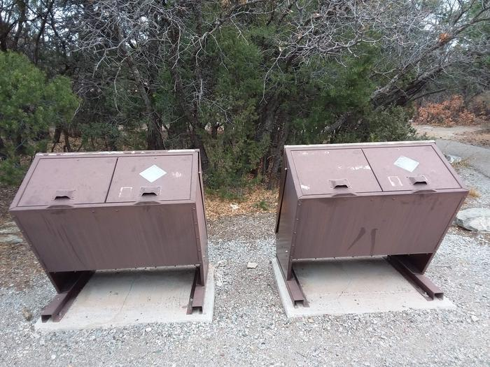 Trash bins.
