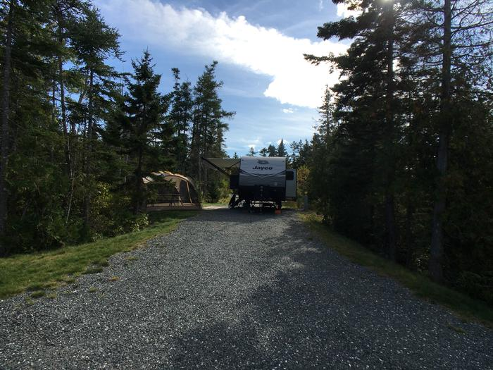A photo of Site B20 while OccupiedA photo of Site B20 of Loop B-Loop at Schoodic Woods Campground with Picnic Table, Electricity Hookup, Fire Pit, Water Hookup