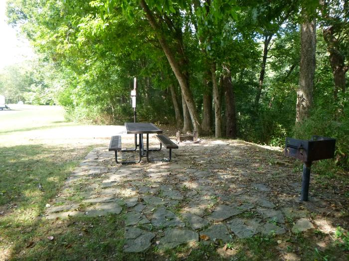 Tyler Bend Main Loop #12-6Site #12, is a drive through site with a short walk to picnic table and fire ring. Tent pad is 15' x 15'.