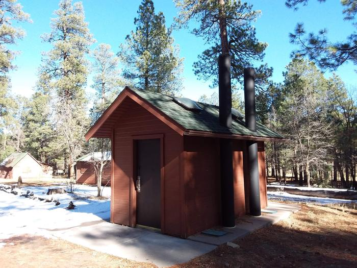 Long Valley Work Center Campground: group site structures with quick access to restroomsLong Valley Group CG