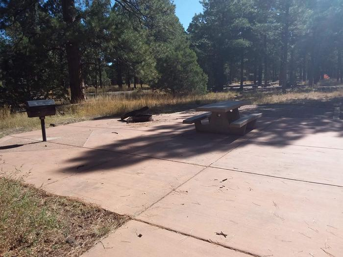 Loop B Campsite 14 paved area with a picnic table, grill and fire ring