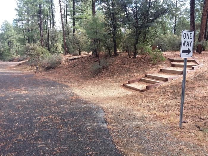Hilltop Campground Loop B Site 19: stair and road accessHilltop Campground Loop B Site 19