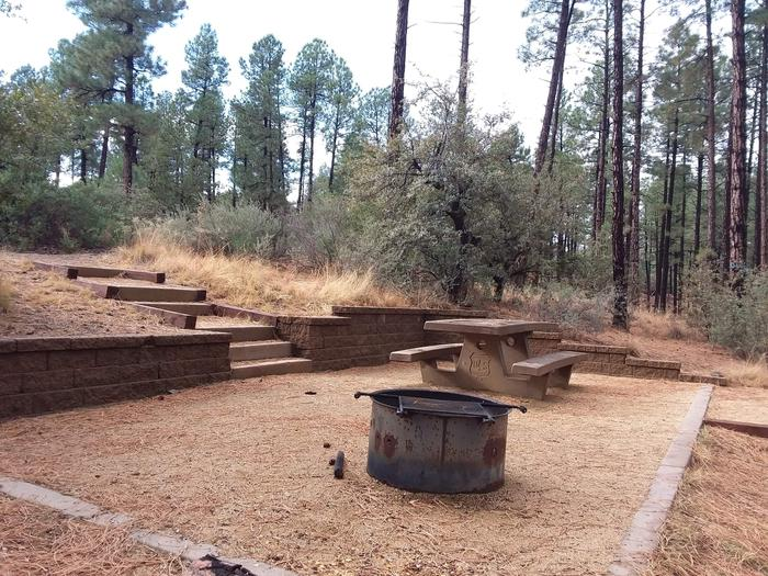 Hilltop Campground Loop C Site 35: table, fire pit, and stair accessHilltop Campground Loop C Site 35