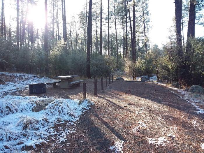 Campsite 13 with a picnic table, campfire ring and paved parking space