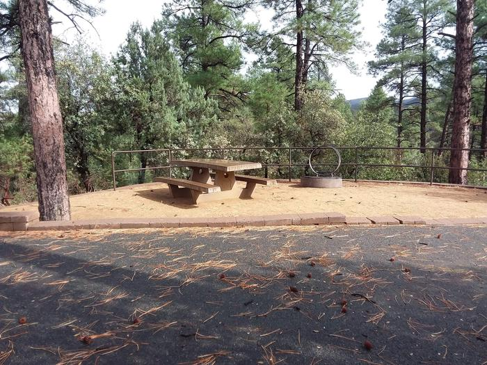 Lynx Campground Loop F Site 026: table and fire pit Lynx Campground Loop F Site 026