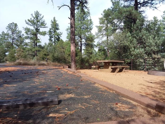 Lynx Campground Loop F Site 026: table and fire pit near paved parkingLynx Campground Loop F Site 026