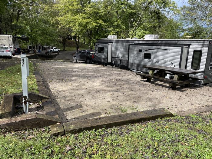 A photo of Site 047 of Loop TCLP at FLOATING MILL PARK with Picnic Table, Electricity Hookup, Fire Pit, Water Hookup