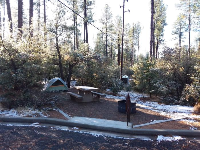 Campsite 26 with a picnic table, campfire ring and steps to lower level