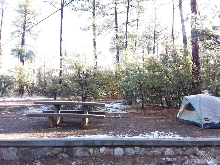 Campsite 26 with a picnic table and an open space for tent placement