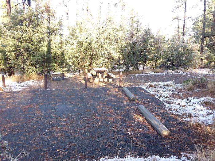 Campsite 27 with a picnic table, campfire ring, parking spaces and an open space for tent placement
