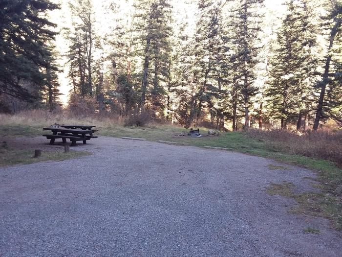 Site 2 with picnic tables, a fire ring, and parking.