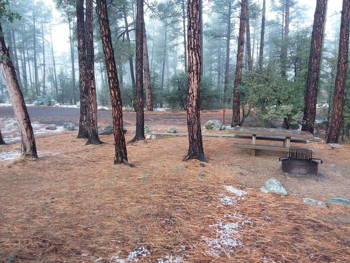 Campsite 36 with a picnic table, campfire ring and paved parking space
