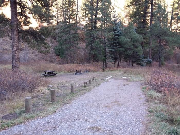 Site 9 with a fire ring, a picnic table, and parking.
