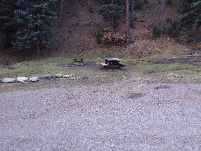 Site 17 with a picnic table, campfire ring, and parking spot.
