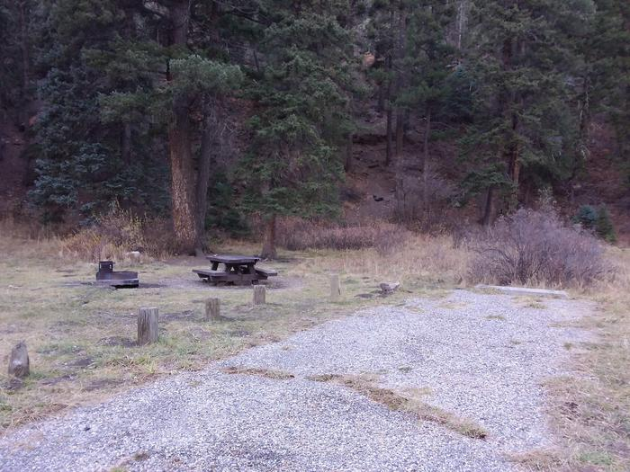 Site 20 with parking, a campfire ring, and a picnic table.