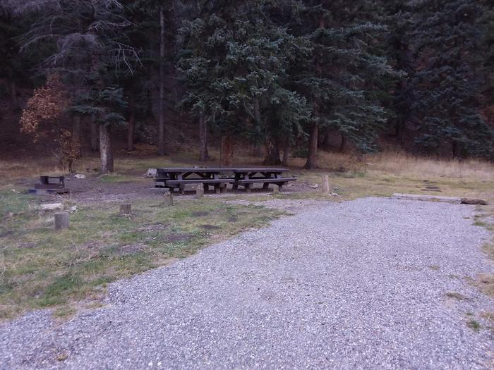 Site 21 with picnic tables, a campfire ring, and parking.