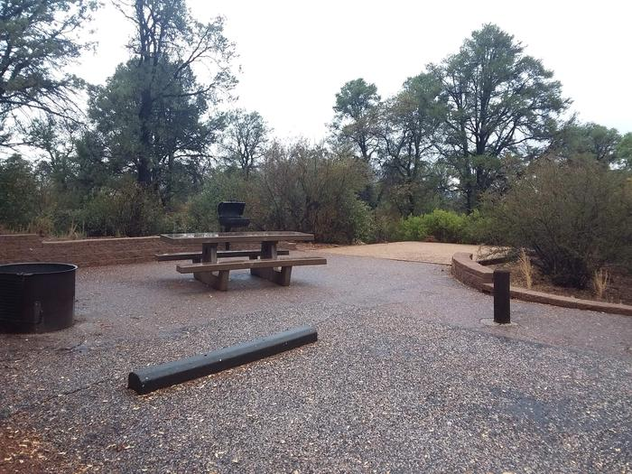 Yavapai Campsite 17 picnic table, grill and fire ring as well as a designated space for tent placement in the background