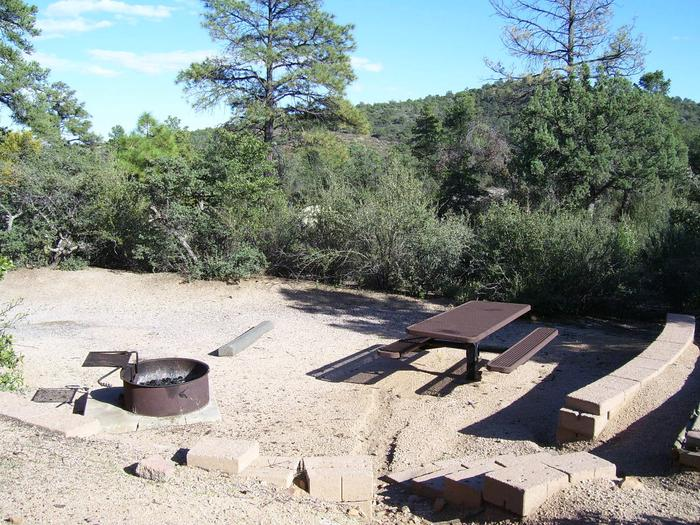 Yavapai Campsite 19 with a picnic table, fire ring and mountain views