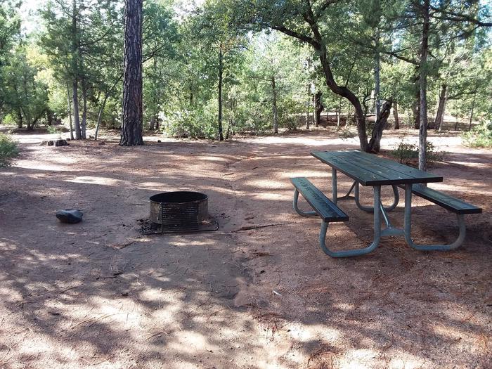 Houston Mesa, Elk Loop site #07 picnic table and fire pit.Houston Mesa, Elk Loop site #07