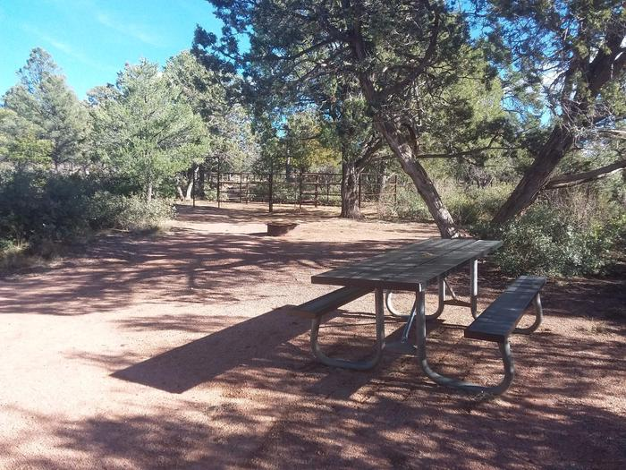 Houston Mesa, Horse Camp site #13 picnic table and horse corral.Houston Mesa, Horse Camp site #13
