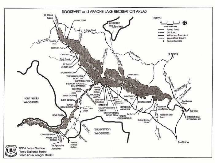 Roosevelt and Apache Lake Areas Map