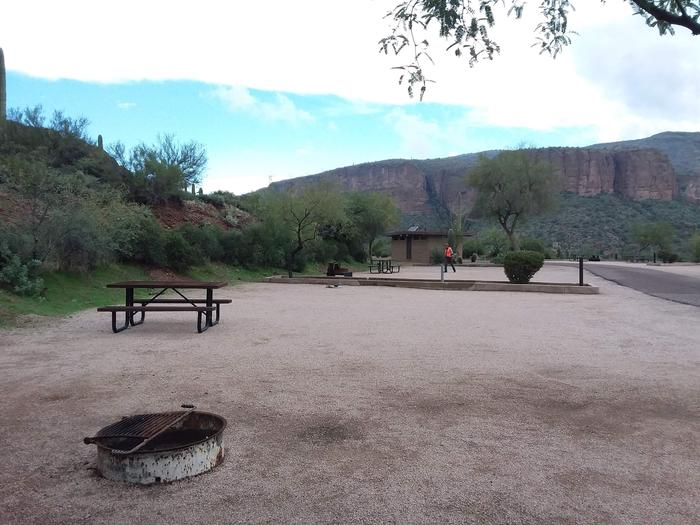 Tortilla Campground Site 39: shows the table, fire pit, and quick access to restroomsTortilla Campground Site 39