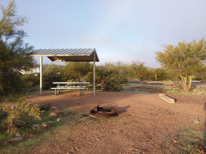 Windy Hill Campground Coati Site 004: shade structure, fire pit, and tableWindy Hill Campground Coati Site 004