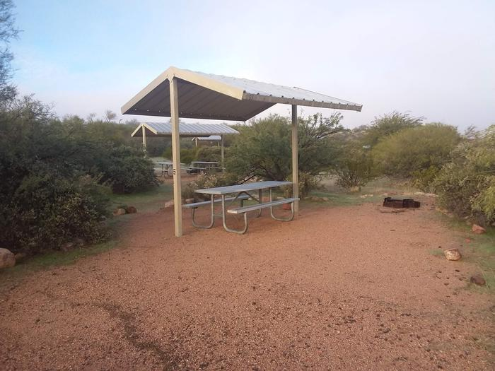 Windy Hill Campground Coati Site 005: shade structure, table, fire pitWindy Hill Campground Coati Site 004