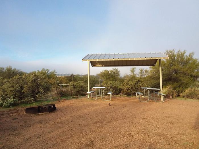 Windy Hill Campground Coati Site 006: shade structure, fire ring, and tableWindy Hill Campground Coati Site 006