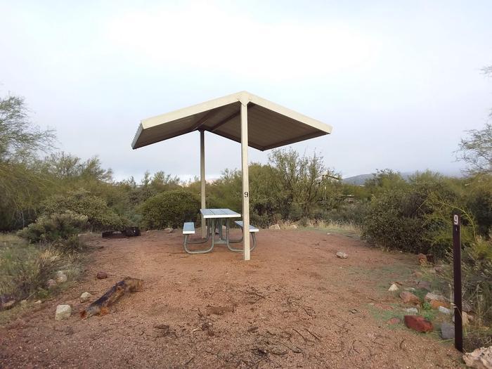 Windy Hill Campground Coati Site 009: site marker and shade structure and tableWindy Hill Campground Coati Site 009