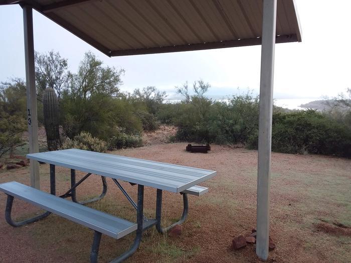 Windy Hill Campground Coati Site 013: shade structure, fire ring, and tableWindy Hill Campground Coati Site 013