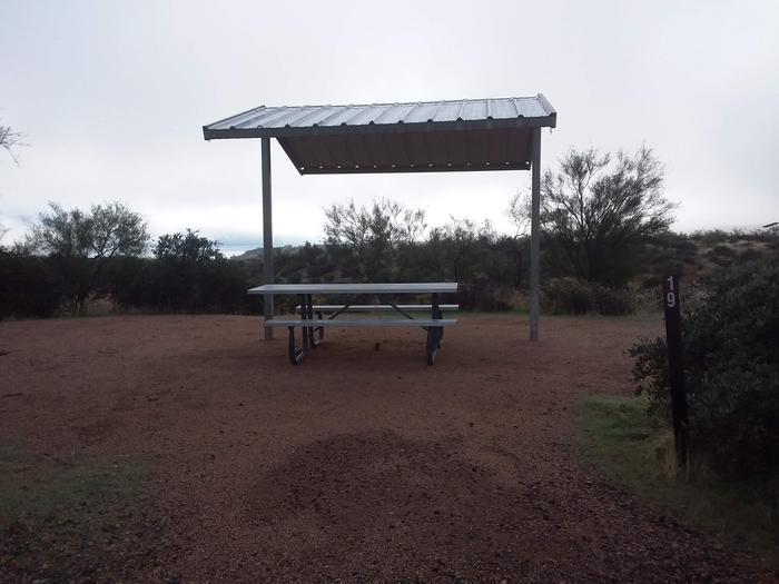 Windy Hill Campground Coati Site 019: shade structure, and tableWindy Hill Campground Coati Site 019