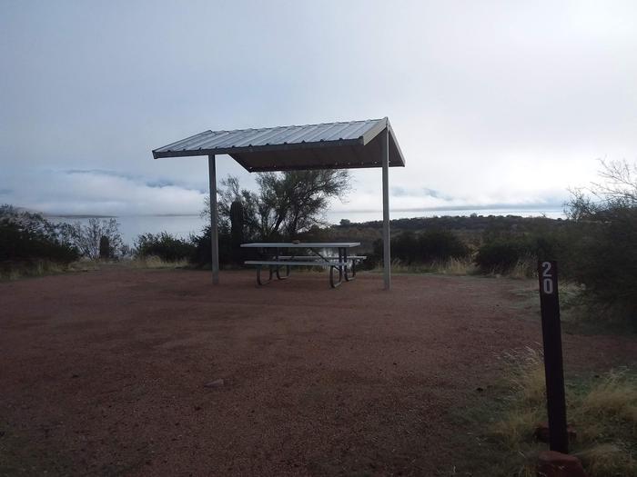Windy Hill Campground Coati Site 020: shade structure, and tableWindy Hill Campground Coati Site 020