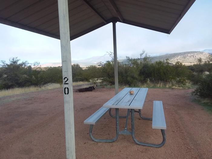 Windy Hill Campground Coati Site 020: shade structure, table, fire pitWindy Hill Campground Coati Site 020