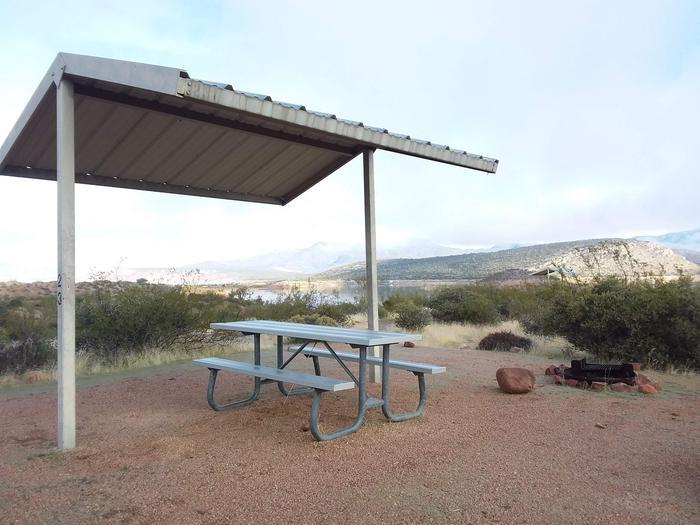 Windy Hill Campground Coati Site 023: shade structure, table, fire pitWindy Hill Campground Coati Site 023