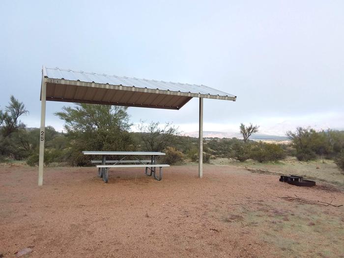 Windy Hill Campground Coati Site 025: shade structure, table, fire pitWindy Hill Campground Coati Site 025