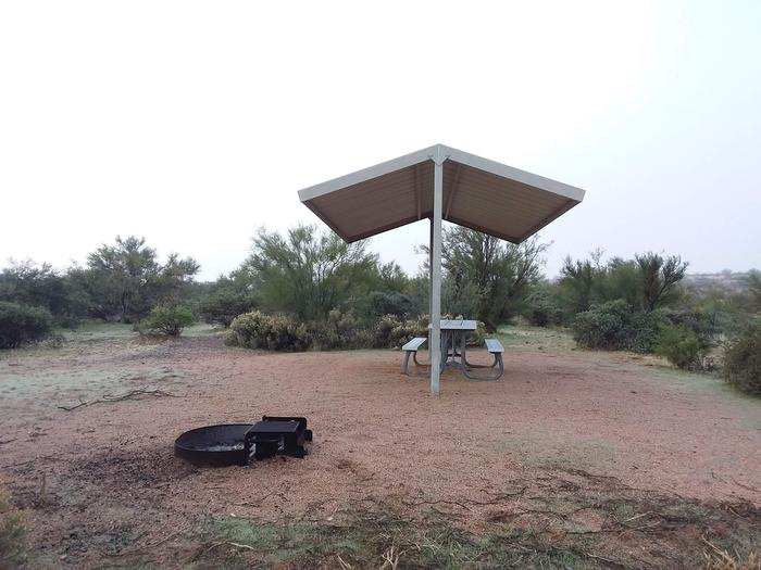 Windy Hill Campground Coati Site 025: shade structure, table, fire pit - another angleWindy Hill Campground Coati Site 025