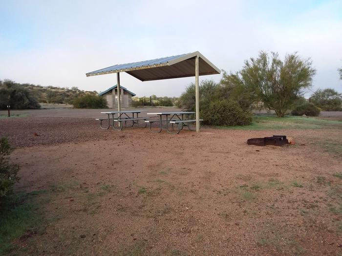 Windy Hill Campground Coati Site 034: shade structure, table, fire pitWindy Hill Campground Coati Site 034