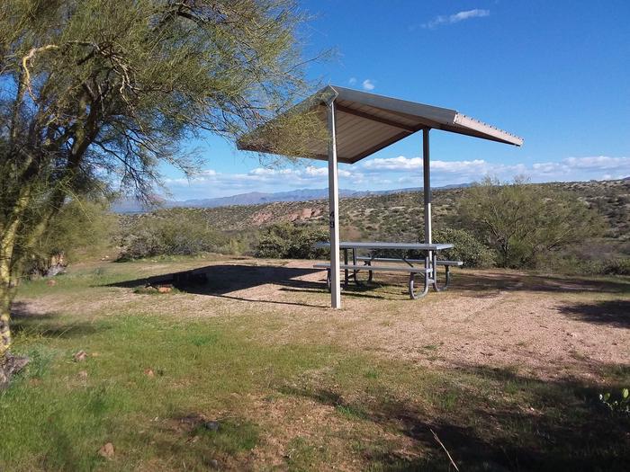 Windy Hill Campground Coati Site 049: shade structure, table, with a viewWindy Hill Campground Coati Site 049