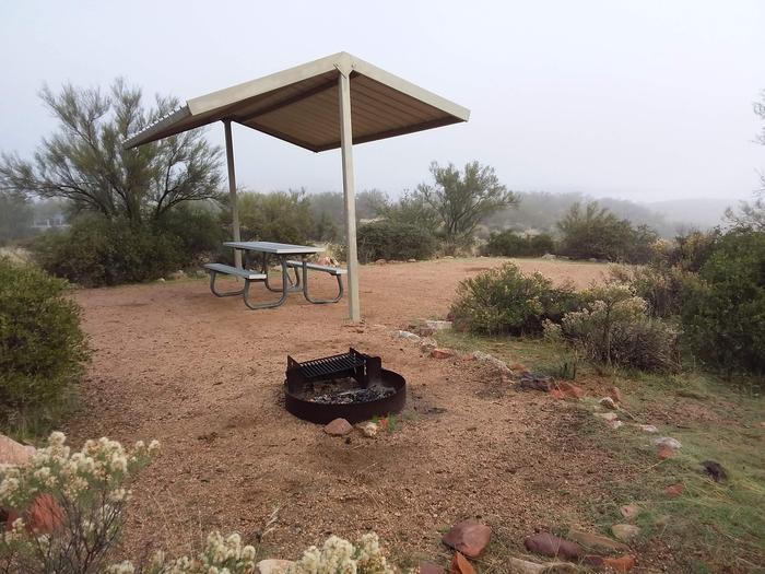 Windy Hill Campground Coati Site 051: shade structure, table, fire pitWindy Hill Campground Coati Site 051