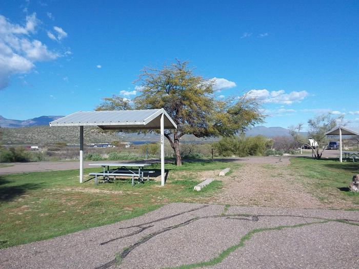 Windy Hill Campground Chipmunk Site 236: shade structure, table, fire pitWindy Hill Campground Chipmunk Site 236