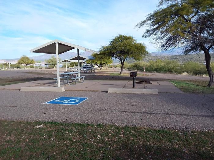 Windy Hill Campground Chipmunk Site 237: wheelchair accessible campsite with table, fire pit, grill, and shade structureWindy Hill Campground Chipmunk Site 237