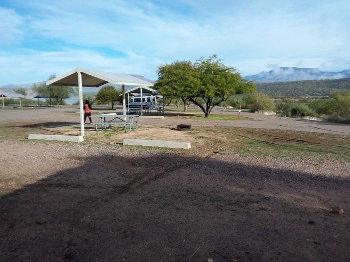 Windy Hill Campground Chipmunk Site 239: shade structure, table, fire pitWindy Hill Campground Chipmunk Site 239