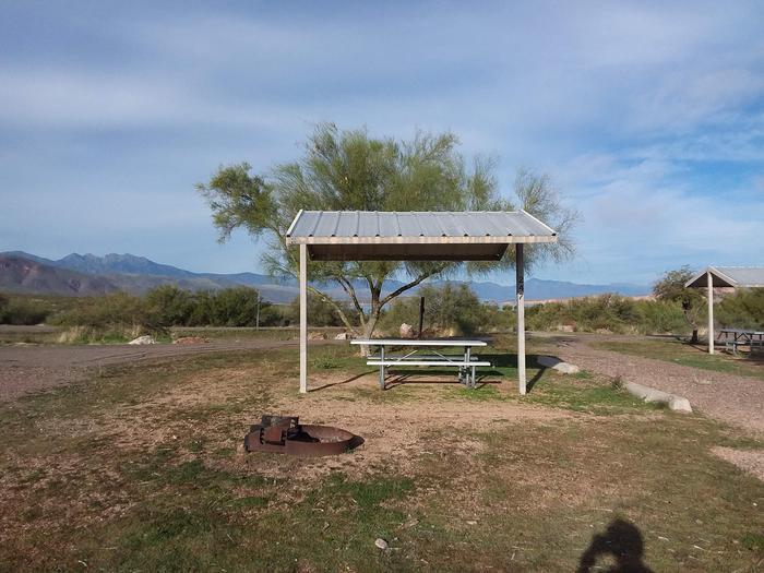 Windy Hill Campground Chipmunk Site 247: shade structure, table, fire pitWindy Hill Campground Chipmunk Site 247