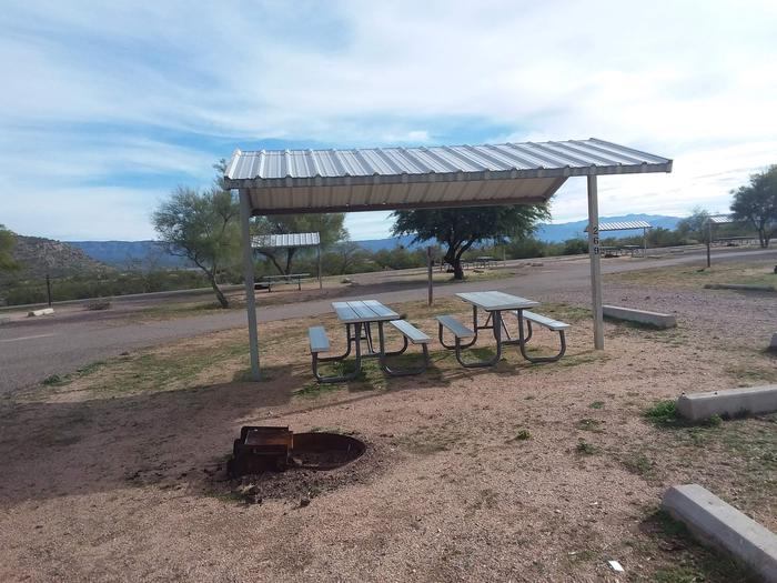 Windy Hill Campground Coyote Site 269: shade structure, table, fire pit Windy Hill Campground Coyote Site 269