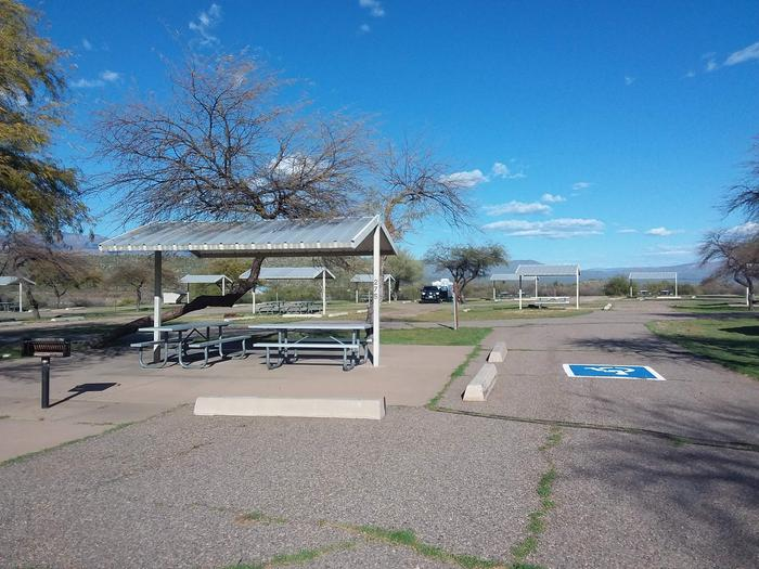 Windy Hill Campground Coyote Site 275: wheelchair accessible with shade structure, table, fire pit Windy Hill Campground Coyote Site 275