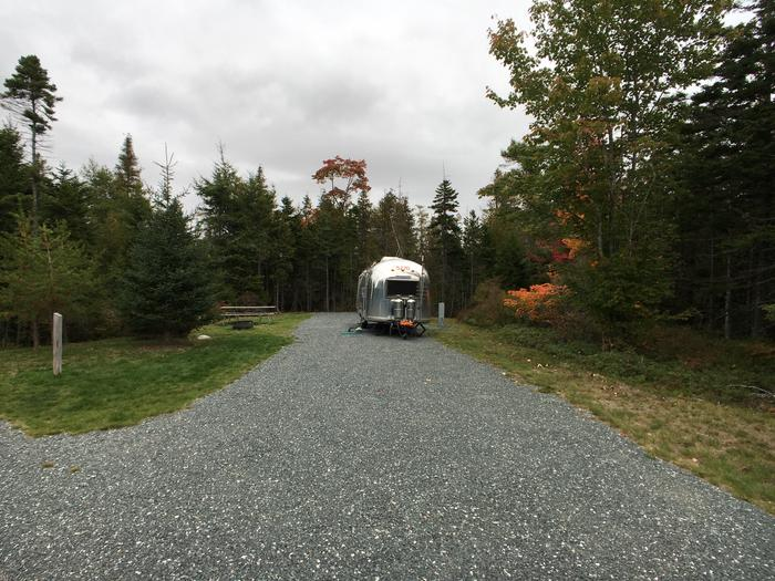 A photo of Site B28 of Loop B-Loop at Schoodic Woods Campground with Picnic Table, Electricity Hookup, Fire Pit, Water Hookup
