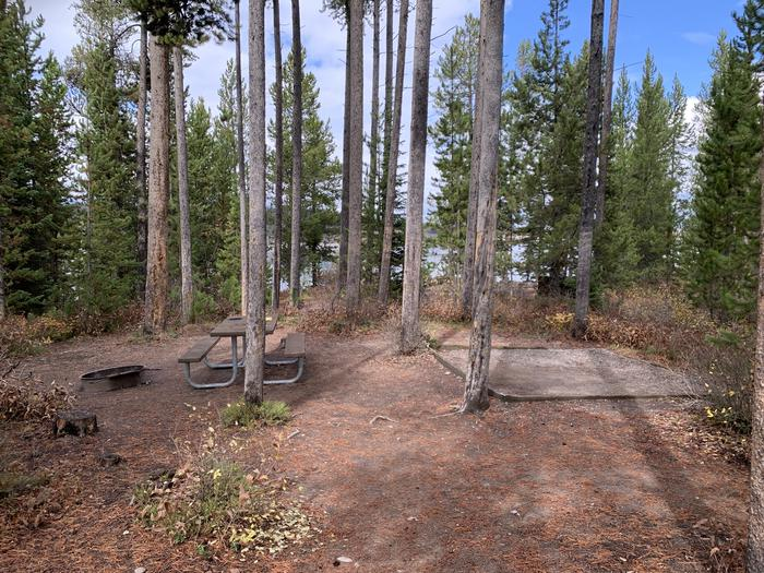A photo of Site 16 of Loop 1 at Signal Mountain Lodge Campground with Picnic Table, Fire Pit, Shade, Food Storage, Tent Pad