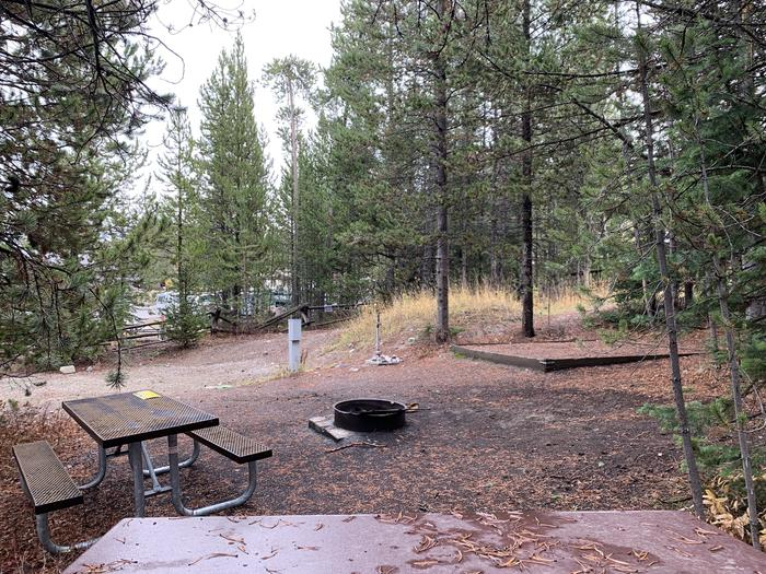 A photo of Site 7 of Loop 1 at Signal Mountain Lodge Campground with Picnic Table, Electricity Hookup, Fire Pit, Shade, Food Storage, Tent Pad, Full Hookup